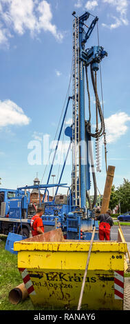 Goslar, Germany, May 22., 2017: Drilling work and drilling for a measuring point for the groundwater level and sampling for groundwater quality - Stock Image