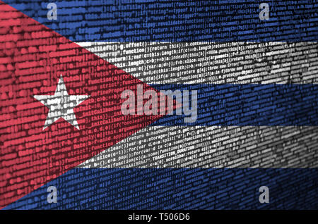 Cuba flag  is depicted on the screen with the program code. The concept of modern technology and site development. - Stock Image