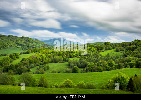 Carpathian Mountains in Bieszczady National Park, Poland. View over Tarnica peak. - Stock Image