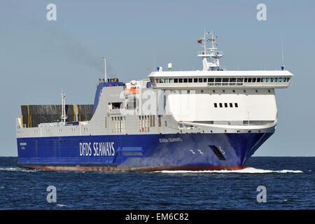 RoPax-Ferry Athena Seaways inbound for Kiel. - Stock Image