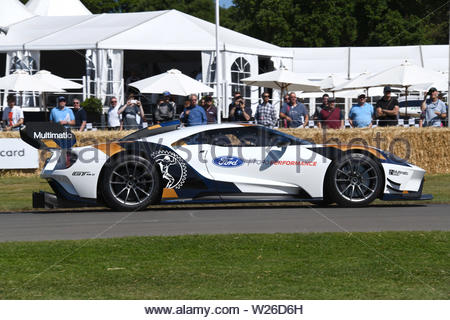 Pictured 4/7/19 is the first day of the Goodwood Festival of speed near Chichester in West Sussex - Stock Image