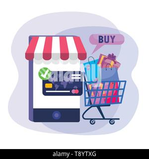 smartphone technology with shopping cart online and credit card vector illustration - Stock Image