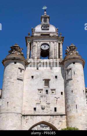 Clock Gate in the port of La Rochelle on the coast of the Poitou-Charentes region of France. - Stock Image