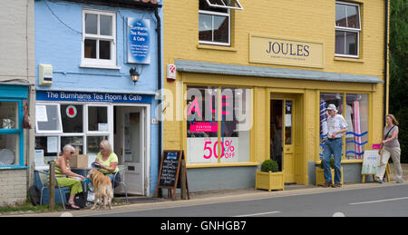 Shops in the upmarket Norfolk village of Burnham Market - Stock Image