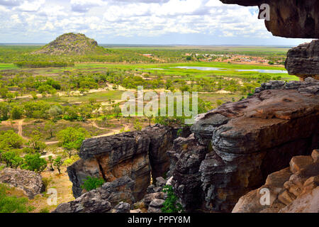 View from Anjalak Hill over the huge landscape and wetlands  of Arnhem Land, Northern Territory, Australia - Stock Image