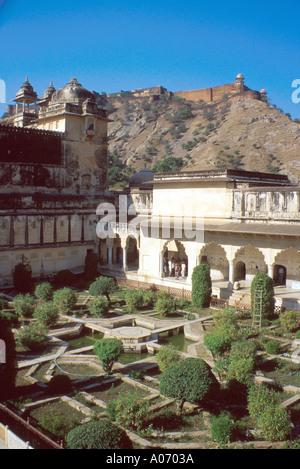 Jalgarh Fort Overlooking Amber Fort, Rajasthan, India - Stock Image
