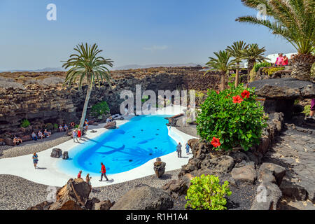 The blue pool at Jameos del agua Lanzarote Canary Islands - Stock Image