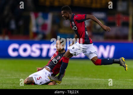 Bologna, Italy. 13th May, 2019. Erik Pulgar (Bologna) celebrates after scoring his team's second goal during the Italian 'Serie A' match between Bologna 4-1 Parma at Renato Dall Ara Stadium on May 13, 2019 in Bologna, Italy. Credit: Aflo Co. Ltd./Alamy Live News - Stock Image