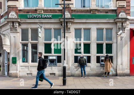 A branch of Lloyds bank on George Street in Luton, Bedfordshire, UK - Stock Image
