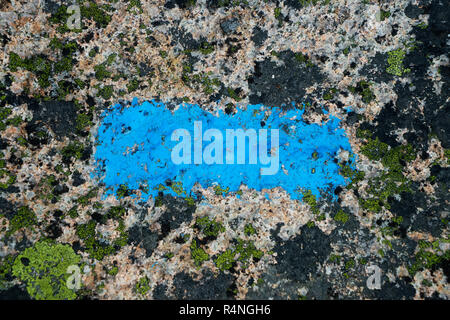 Blue line painted on a rock to indicate the way to hikers. - Stock Image