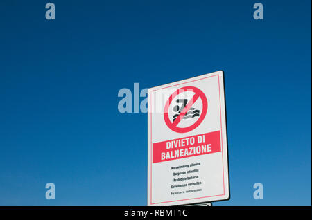 No swimming allowed sign in Italian - Stock Image