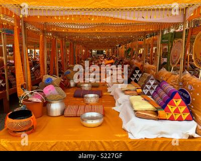 Special event set up for monks in Luang Prabang Laos - Stock Image