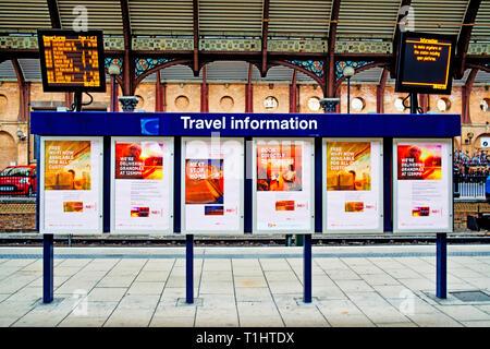 Travel Information Board, York Railway Station, York, England - Stock Image