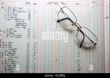 An old accounts ledger, handwritten figures in pounds shillings and pence, with accountant's glasses - Stock Image