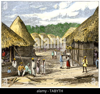 Native Paraguayan village, 1800s.  Hand-colored woodcut - Stock Image