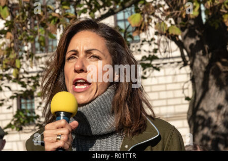 London, UK. 31st October 2018. A broadcaster speaks at the Extinction Rebellion protest in Parliament Square. Other speakers included  Swedish schoolgirl Greta Thunberg, campaigner Donnachadh McCarthy, Labour MP Clive Lewis and economist and Green MEP Molly Scott Cato. The protest made a 'Declaration of Rebellion' against the British Government for its criminal inaction in the face of climate change catastrophe and ecological collapse. Credit: Peter Marshall/Alamy Live News - Stock Image