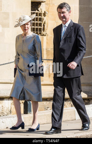 Windsor, UK. 21st April 2019. Princess Anne, Princess Royal, arrives with Vice Admiral Sir Timothy Laurence to attend the Easter Sunday Mattins service at St George's Chapel in Windsor Castle. Credit: Mark Kerrison/Alamy Live News - Stock Image