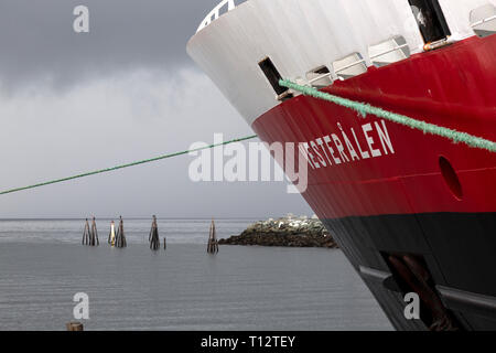 The cruise ship Vesteralen belonging to the Hurtigruten Company, in port at Trondheim in Norway. - Stock Image