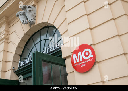 Museum Quarter (MuseumsQuartier) sign, Museumsplatz, Vienna, Austria - Stock Image