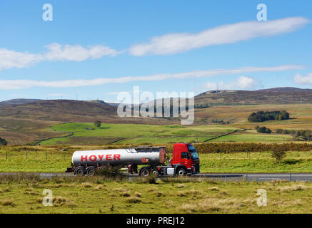 Hoyer Tanker. M6 Northbound carriageway, Shap, Cumbria, England, United Kingdom, Europe. - Stock Image