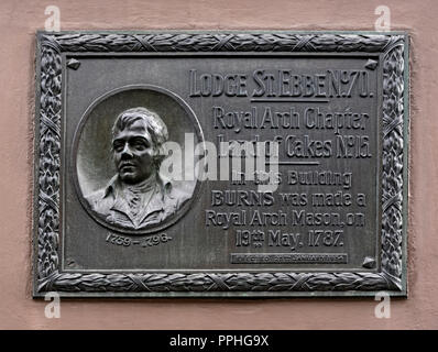 Descriptive plaque commemorating the admission of Robert Burns to the Royal Arch Mason Lodge St.Ebbe No.70, Royal Arch Chapter Land of Cakes No.15. - Stock Image