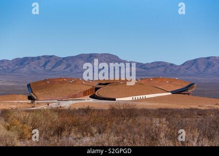 Spaceport America, a giant moth in the New Mexican Desert - Stock Image