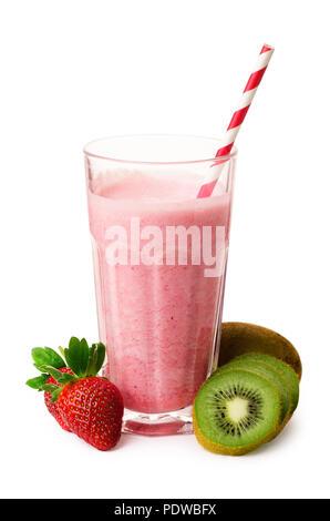 Pink smoothie with strawberry, yogurt, kiwi isolated on a white background - Stock Image