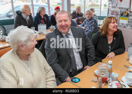 Saltcoats, Ayrshire, UK. 28th Jan 2019. GRAEME DEY (SNP) MSP, 'Minister for Veterans', visited the 'Veterans Breakfast Club' in Saltcoats, Ayrshire as part of his consultations with those who have an interest in giving support and welfare to military veterans. The visit was to gather information and opinions for the proposed UK wide Defence Medical Welfare Drive better known as the 'New Veteran Strategy' that will help those leaving the armed forces to deal with problems such as social isolation and PTSD (Post Traumatic Stress Disorder) Credit: Findlay/Alamy Live News - Stock Image