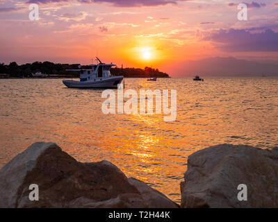 Sunset in Thassos, Greece - Stock Image