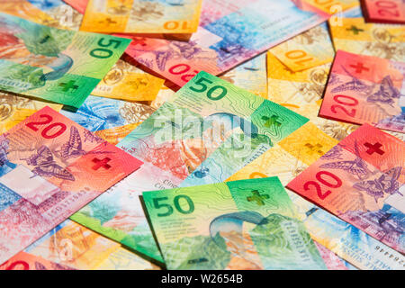 Collection of the new swiss banknotes (issued in 2017) - Stock Image