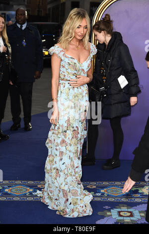 London, UK. 09th May, 2019. LONDON, UK. May 09, 2019: Megan Mckenna at the 'Aladdin' premiere at the Odeon Luxe, Leicester Square, London. Picture: Steve Vas/Featureflash Credit: Paul Smith/Alamy Live News - Stock Image