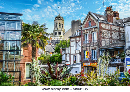 The picturesque downtown area a distance from the port and harbour at Honfleur France, a fishing village on the - Stock Image