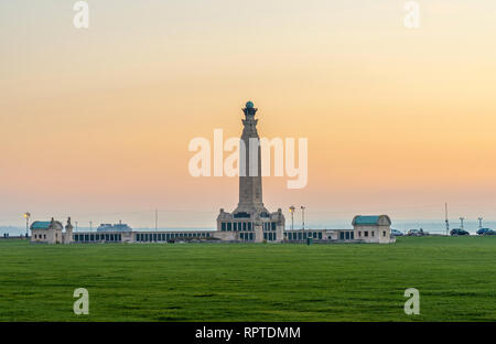 Portsmouth Naval Memorial at dusk at Southsea Common in Soythhsea, Portsmouth, England, UK - Stock Image