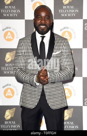LONDON, UK. March 19, 2019: Melvin O'Doom arriving for the Royal Television Society Awards 2019 at the Grosvenor House Hotel, London. Picture: Steve Vas/Featureflash Credit: Paul Smith/Alamy Live News - Stock Image
