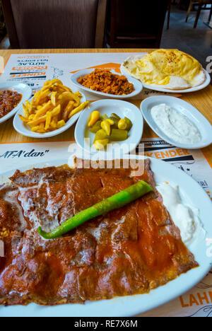 Iskender kebab, with garnish, ATA restaurant, Kizilay, Ankara, Turkey, Eurasia - Stock Image