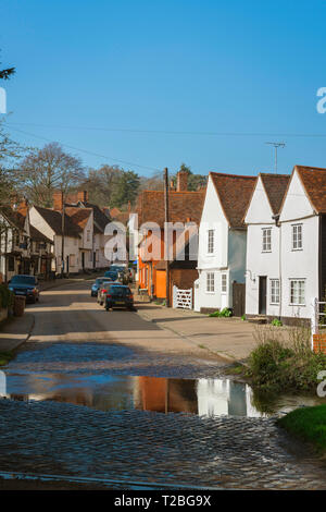 Suffolk village, view of The Street in the centre of Kersey village, with its famous ford or 'splash' in the foreground, Suffolk, England, UK. - Stock Image