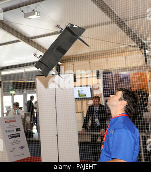 on the  exhibition-stand in the halls at the Farnborough Airshow 2010 - Stock Image