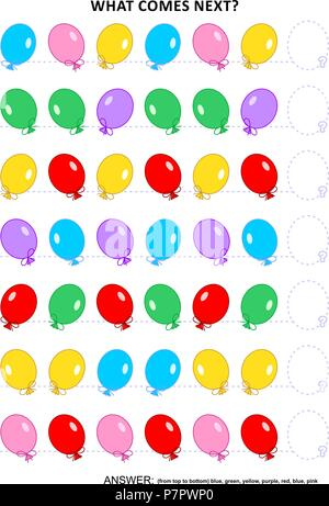 Educational logic game training sequential pattern recognition skills with colorful balloons: What comes next in the sequence? Answer included. - Stock Image