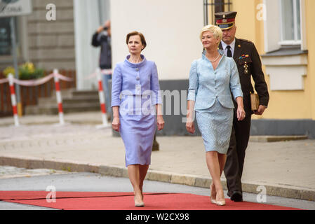 RIGA, LATVIA. 8th of July 2019. Andra Levita (L), first Lady of Latvia and Iveta Vejone (R), during Symbolic handover of the keys of the Riga Castle by President of Latvia Raimonds Vejonis to Newly Elected President of Latvia Egils Levits accompanied by First Ladies of Latvia Iveta Vejone and Andra Levite. Credit: Gints Ivuskans/Alamy Live News - Stock Image