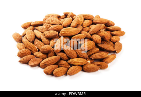 Heap of almonds isolated on white background - Stock Image