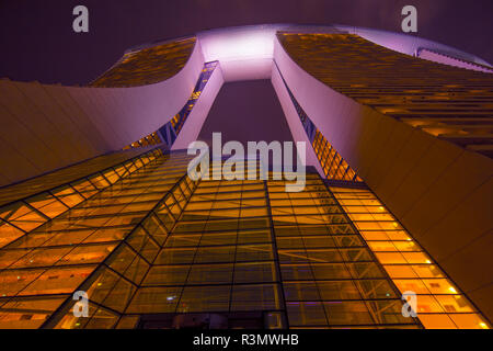 Singapore. Close-up of Marina Bay Sands Hotel at night. Credit as: Jim Zuckerman / Jaynes Gallery / DanitaDelimont.com - Stock Image