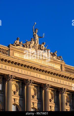 Strasbourg, Alsace, France, Palais Universitaire, University building, pediment, Athena allegorical group of statues, late afternoon light, - Stock Image