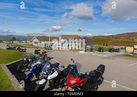 The Ponderosa Cafe and gift shop on Horseshoe Pass above Llangollen a popular diner stop for motorcyclists and travellers on the A542 in North Wales - Stock Image