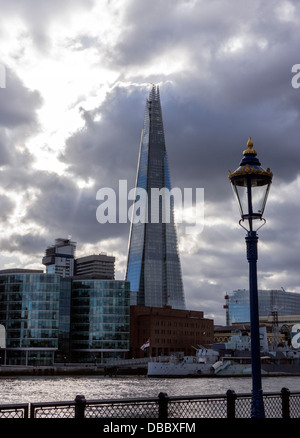 The Shard Southwark London with moody sky - Stock Image