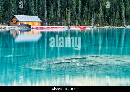 The boat house at Lake Louise in Alberta, Canada on a frosty autumn morning. - Stock Image