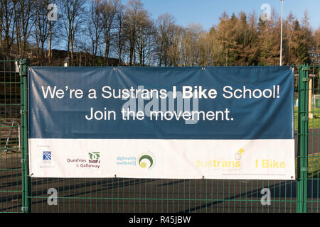 Notice or sign We're a Sustrans I Bike School, in Langholm, Dumfries and Galloway, Scotland, UK - Stock Image