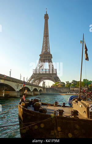 Seine River and Eiffel Tower - Stock Image
