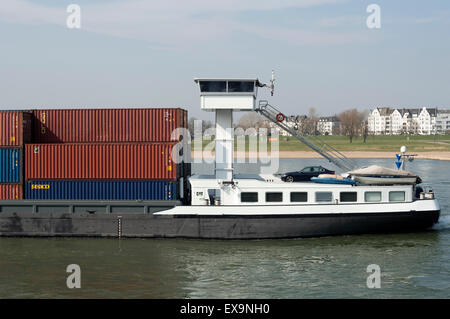 Millennium II container barge, river Rhine, Germany. - Stock Image