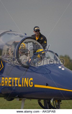 Rivolto Italia Air show 2005, civil aerobatic team Breitling, Albatros jet two seater - Stock Image
