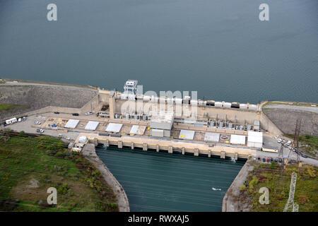 aerial, pump generating Station, Sir Adam Beck Reservoir, Ontario - Stock Image
